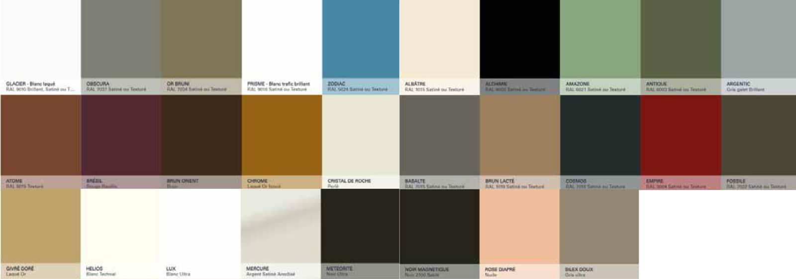 Menuiseries aluminium - les couleurs